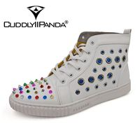 CUDDLYIIPANDA Men Fashion Sneakers New Arrival Men Rivets Breathable Loafers Male Genuine Leather Top Men Comfortable