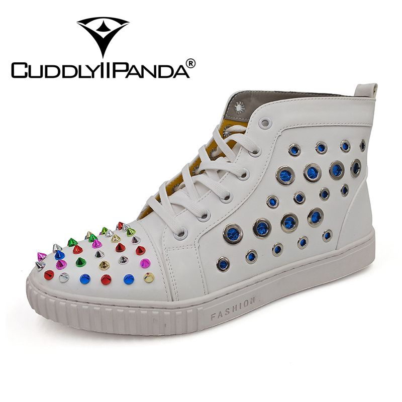 CUDDLYIIPANDA Men Fashion Sneakers New Arrival Men Rivets Breathable Loafers Male Genuine Leather Top Men Comfortable Shoes new 2017 men s genuine leather casual shoes korean fashion style breathable male shoes men spring autumn slip on low top loafers