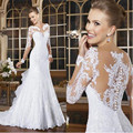 Mermaid Wedding Dresses 2017 Sexy Romantic Vestido de Noiva Lace Appliqued Bride Dresses See Though Back Robe de Mariage Long