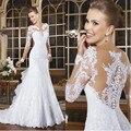 Vestidos de Noiva sereia 2017 Sexy Romântico Vestido de Noiva Lace Appliqued Vestidos de Noiva Veja Embora Voltar Robe de Mariage Longo