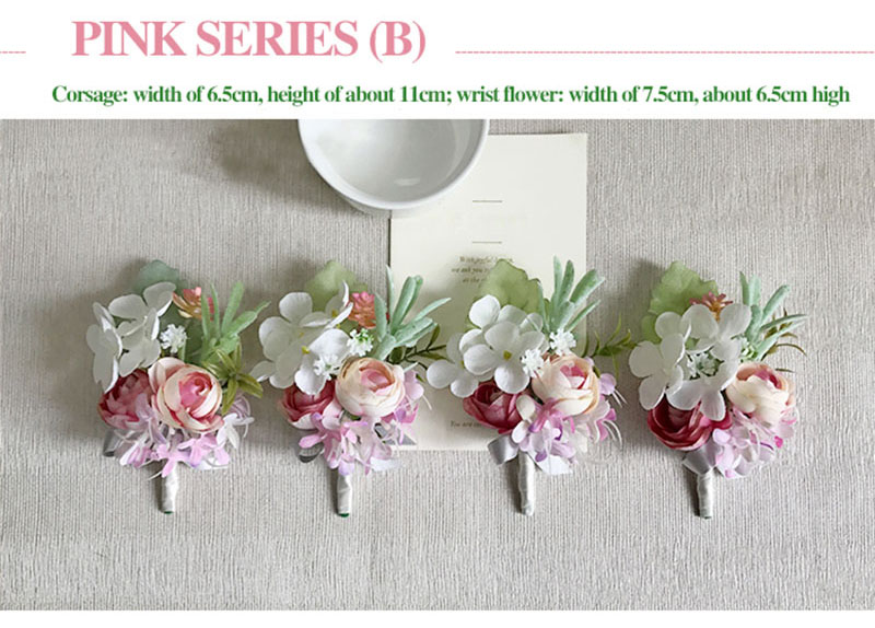 bridal wrist corsage Groom Groomsman boutonniere Brooches rose artificial wedding flower  (1)