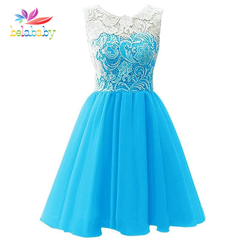 Belababy Girl Dress Kids Wedding Bridesmaid Children Girls Dresses Summer Evening Party Princess Costume Lace Girls Clothes girls dress 2017 new summer flower kids party dresses for wedding children s princess girl evening prom toddler beading clothes