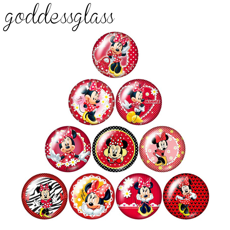 Fashion Lovely Minnie 10pcs 12mm/18mm/20mm/25mm Round Photo Glass Cabochon Demo Flat Back Making Findings ZB0473