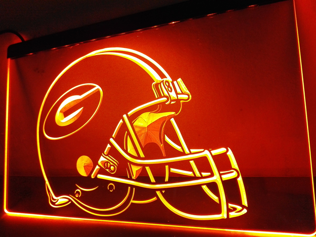 LA202  Green Bay Packers Helmet LED Neon Light Sign Home Decor Crafts