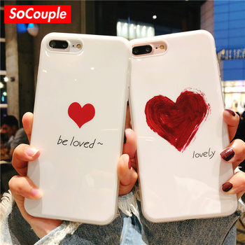 SoCouple Lovely Heart Phone Case For iphone 7 Case Couples Soft TPU Cover Cases For iphone 6 6s 7 8 Plus 8 X 5 5s SE Case iPhone