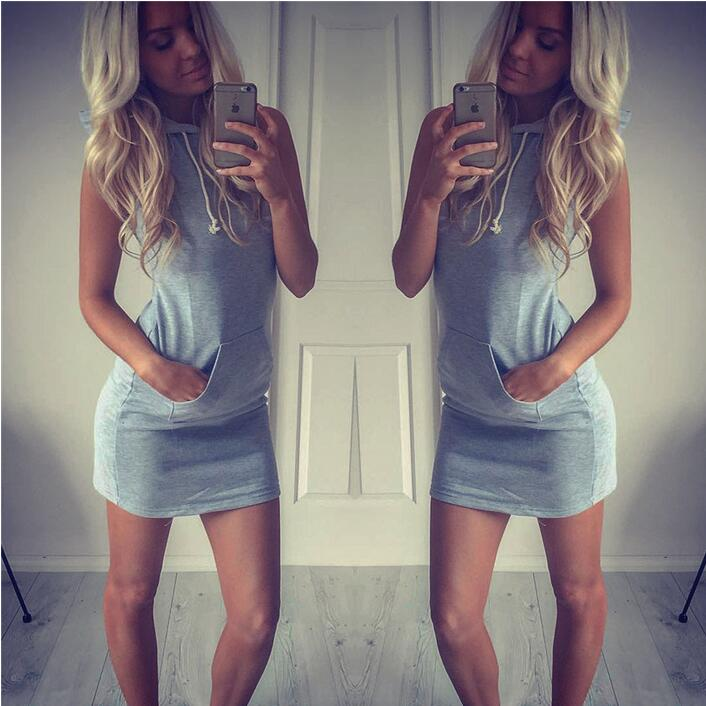 JOYINPARTY Stylish Hooded Summer Mini Dress Casual Sleeveless Women's Dress online shop clothing Big pocket