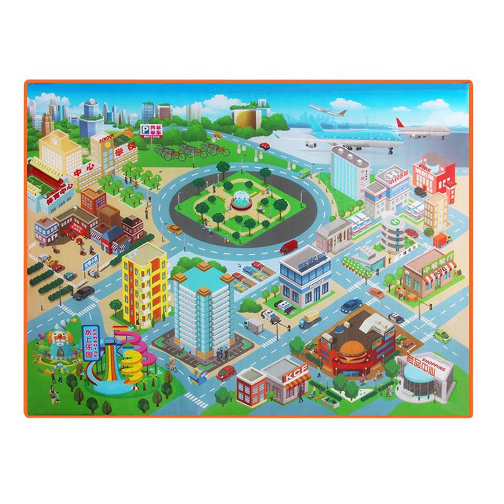 Children Kids Baby Crawling Blanket Carpet Rug City Life Learn To Walk Road Traffic Play Mat Home 998