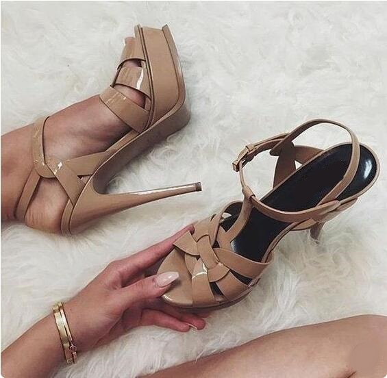 5f53cb664b Detail Feedback Questions about Candy Color Nude Black Patent Leather Cross  Strappy Sandal Platform T Bar Shoes High Stiletto Heels Ladies Dress Shoes  Bride ...