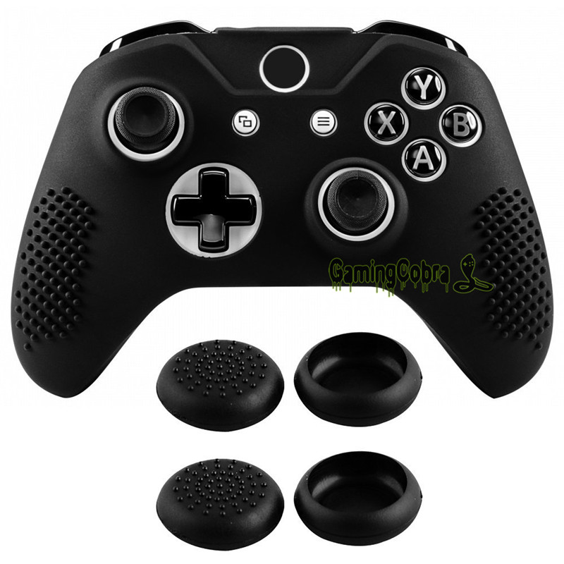 Soft Anti-slip Silicone Controller Cover Skins Thumb Grips Caps Protective Case For Xbox One X / For Xbox One S Controller Black