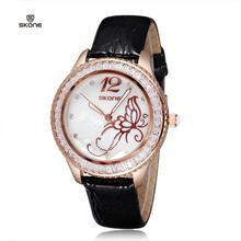 2016 New Arrival Famous Brand Leather Watch Women Rhinestone Imported Japan Quartz Shell Dial Watch