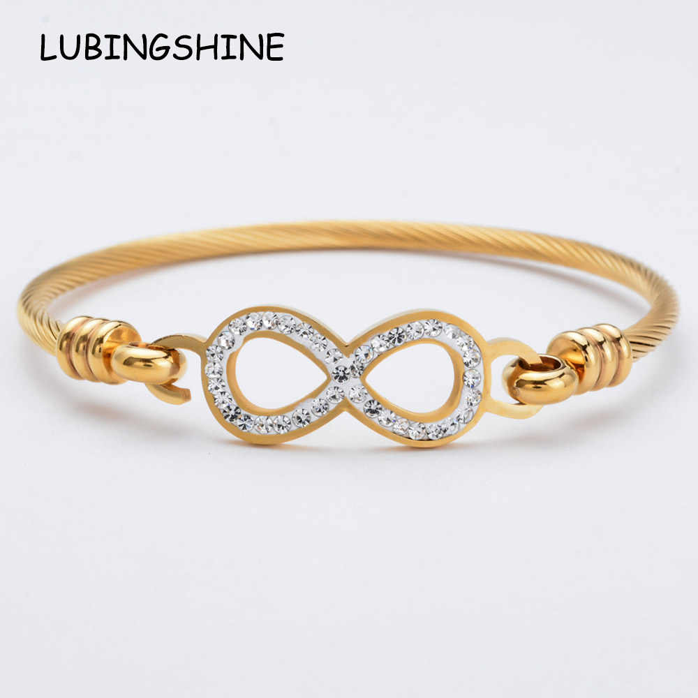 Luxury Women Infinite Love Heart Stainless Steel Bracelet&Bangles Fatima Hand Rhinestones Gold Color Cuff Wristband Jewelry