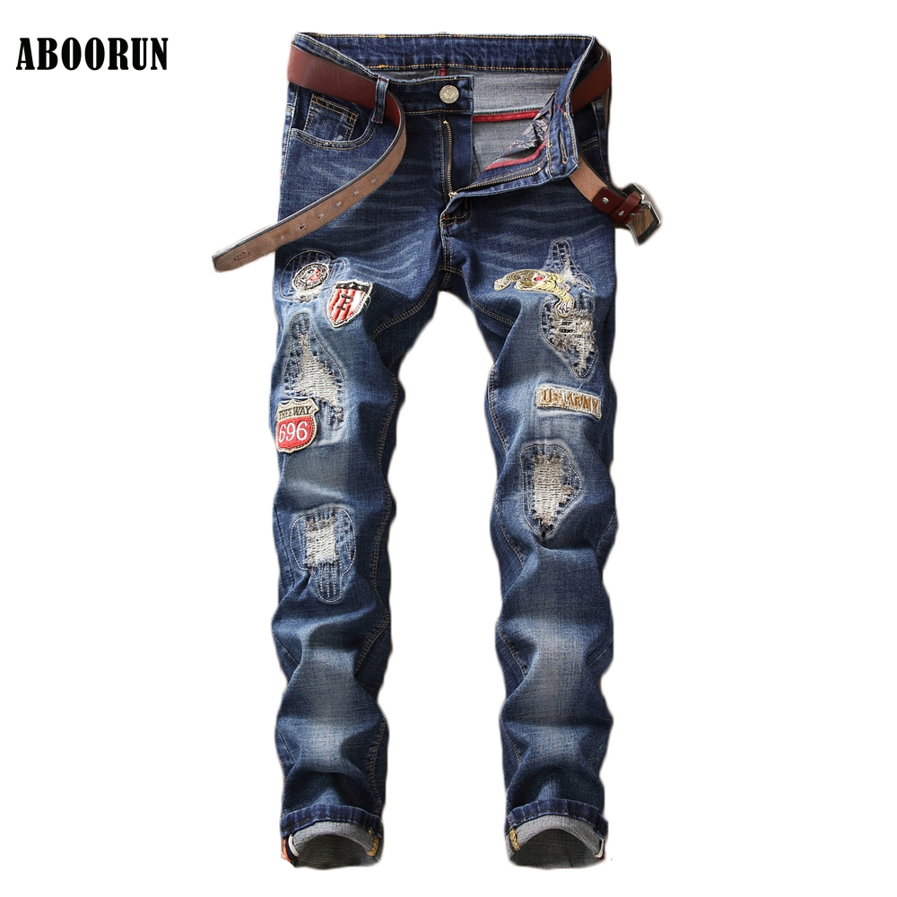 ABOORUN Fashion Mens Brand Embroidery Jeans High Quality Skinny Patchwork Hole Denim Pants Singers Dancers Jeans YC1308