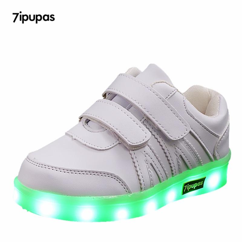 7ipupas Eur25-40 USB Charging Basket Led Kids Shoes Light Up Children Casual Boys&Girls Luminous Sneakers Glowing Shoes enfant