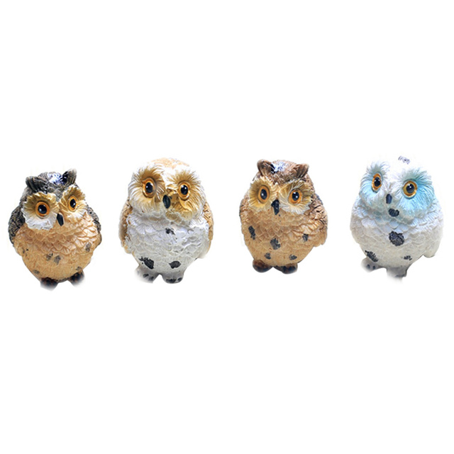 4pcs Artificial Cute Miniature Bird Owl Resin Figurine Craft Fairy Miniature Garden Dollhouse Ornament Home  Decoration DIY 4