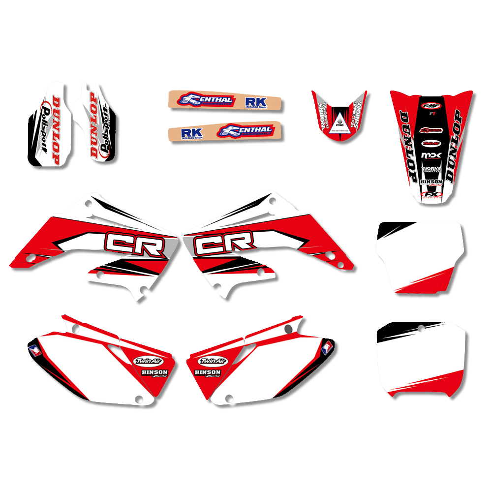 New Style TEAM GRAPHICS BACKGROUNDS DECALS STICKERS Kits for HONDA CR125 CR250 CR125R CR250R 2002 2012