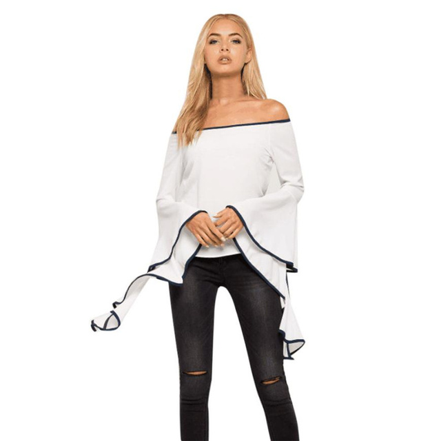 1c5646d68cf Fashion Solid Womens White Blouse Elegant Flare Sleeve Off Shoulder Tops  Casual Women Blouses Sexy Slash