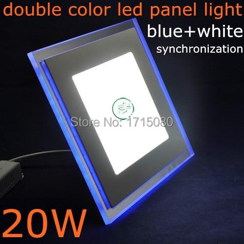 20W čtvercové LED panelové světlo dvojité barvy LED zapuštěné stropní panelové svítidlo s bublinkami + chladné bílé pro vnitřní osvětlení