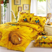 FADFAY 3D Sunflower Bedding Sets Butterfly Bedding Set Unique Bedding Sets Yellow Bedding Flower Queen Size Bed Sets 4Pcs
