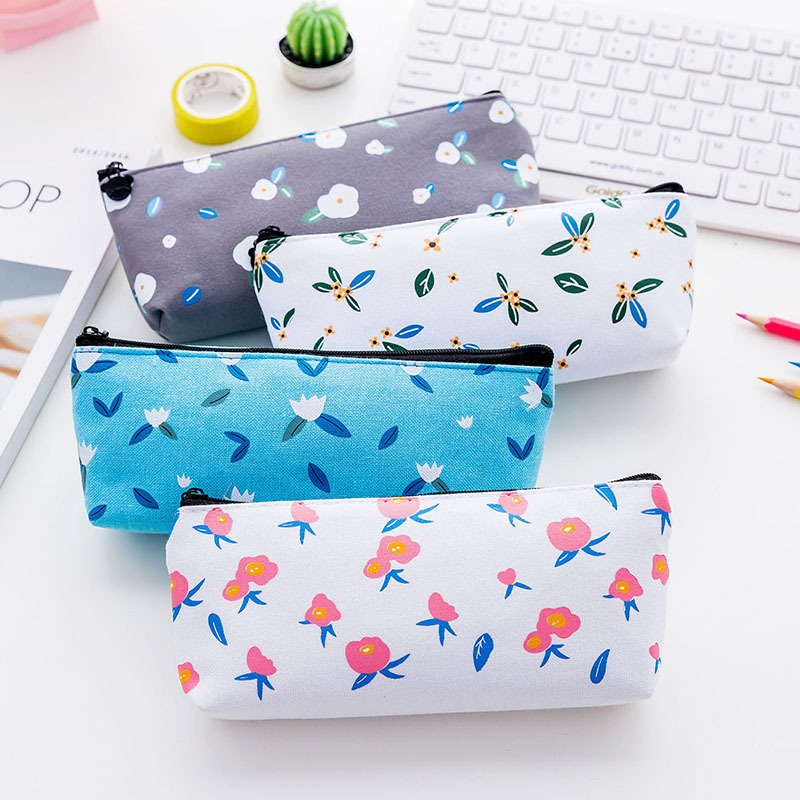 Creative Cute Flowers Canvas Pen Bags School Supplies Korean Kawaii Stationery For Kid Child Gift Pencil Case