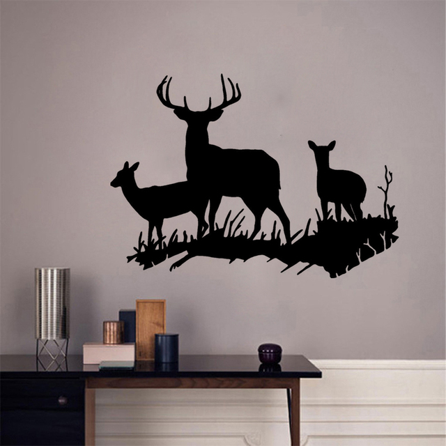 Cartoon Black Deer Wall Sticker Home Decor Kids Rooms Animals Wall Decals  Removable Vinyl Self Adhesive
