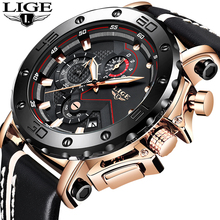 лучшая цена LIGE New Men Watches Top Brand Luxury Male Automatic Date Waterproof Sport Watch Men Leather Military Quartz Wrist Watch Relojes