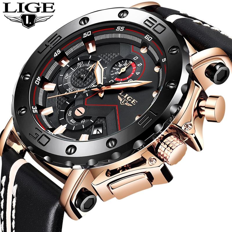 LIGE Novo Homens Relógios Top Marca de Luxo Masculino Automatic Data Relógio Do Esporte Dos Homens de Couro À Prova D' Água Militar Quartz Relógio de Pulso Relojes