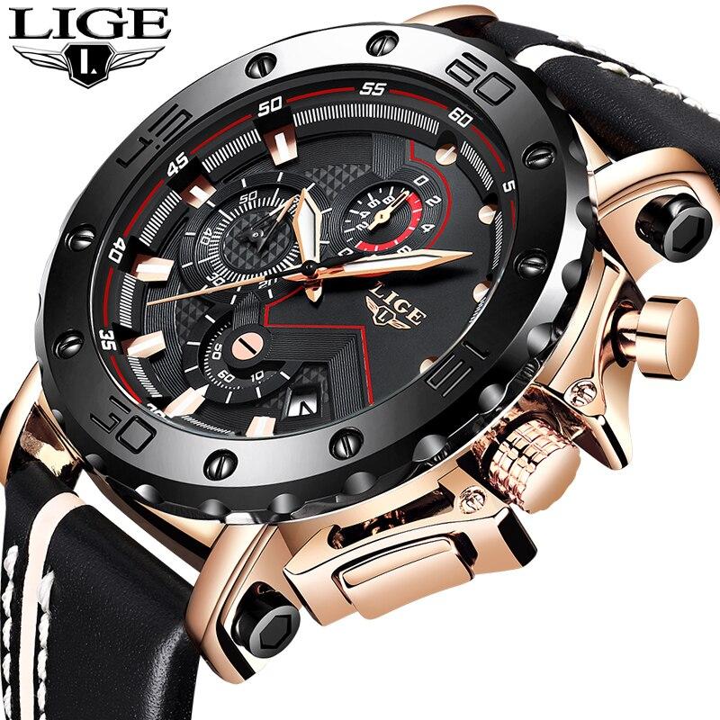 LIGE nouveaux hommes montres Top marque de luxe mâle automatique Date étanche Sport montre hommes en cuir militaire Quartz montre-bracelet Relojes