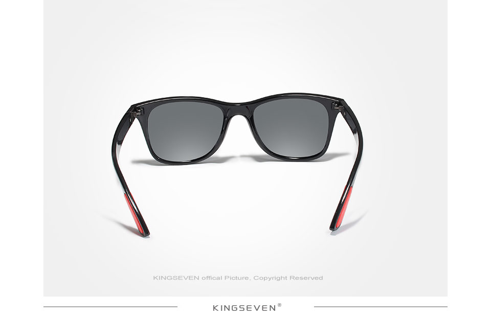 KINGSEVEN Brand Classic Mens Polarized Square Sunglasses Mirror Lens Unisex Sun Glasses Black Frame Eyewear