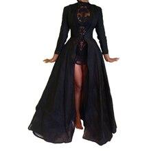Новинка, Высококачественная Сексуальная Готическая кружевная прозрачная куртка с высокой талией, длинное платье, нарядный костюм, женское осеннее платье черного цвета