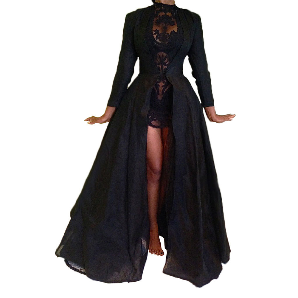 2019 New High Quality Sexy Gothic Lace High Waist Sheer Jacket Long Dress Gown Party Costume Lady Autumn Dress Black