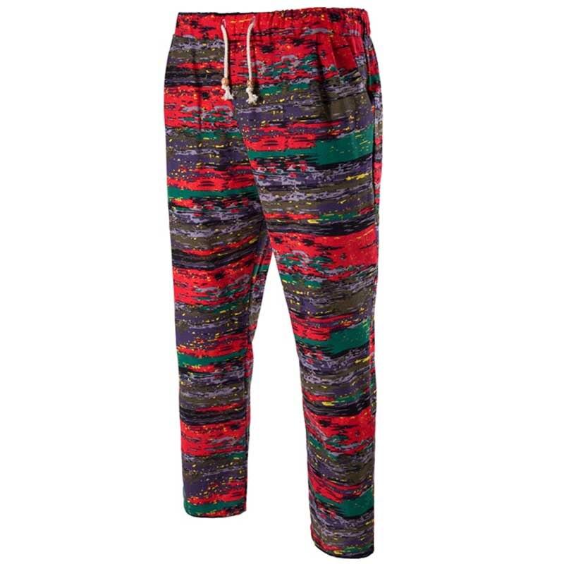 New Fashion Ethnic Man Cotton Linen Casual Pants Plus Size Beach Pants Printing Casual Beach Pants for Men LB