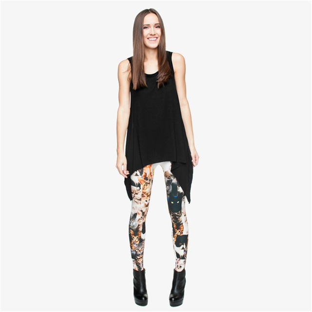 Fashion 3D print Cats Women Leggings Shiny Sexy Lggging Novelty Jeggings Tayt Fitness Legging Calzas Mujer Soft Legins Girls