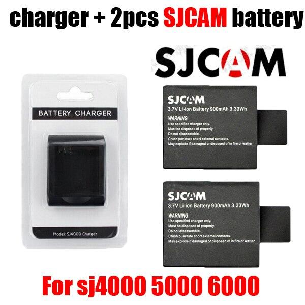 Nuevo sjcam original SJ6000 SJ7000 Cámara 2 + 1 unids cargador para DV SJ4000 SJ 4000 5000 6000 7000 HD 1080 p deportes Cámara