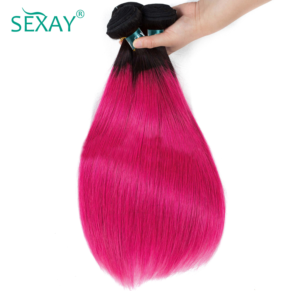 SEXAY Ombre Human Hair Bundles 3 PCS Lot One Pack 1B Pink Dark Roots Brazilian Straight