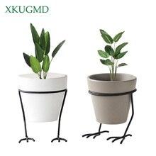 1 Pcs White Grey Flower Planters Clay Pottery Succulent Plant Pot with Chicken Feet Design Iron Shelf Fairy Garden Flowerpot feet of clay