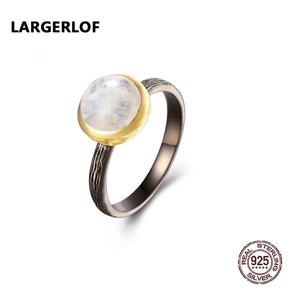 LARGERLOF Moonstone Rings 925 Sterling Silver Fine Jewelry Handmade Vintage Engagement Ring For Women RG57033 vintage cute 925 sterling silver clover cross 7a natural moonstone rings for women wedding engagement jewelry finger bague aneis