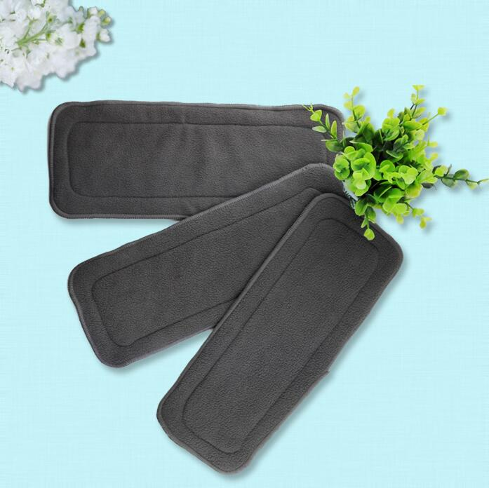 1pcs Baby Diapers Washable 4 Layers Cotton Cloth Charcoal Bamboo Diaper Insert Retail 0-2 Years Old Boy Girls Reusable Wholesale