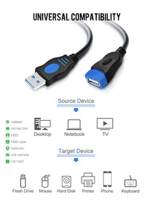Image 2 - VOXLINK  5Pack USB 2.0 Extension Cable  For PC Laptop Male to Female USB Charging Sync Data Extend Cable 1M 1.8M 3M 5M