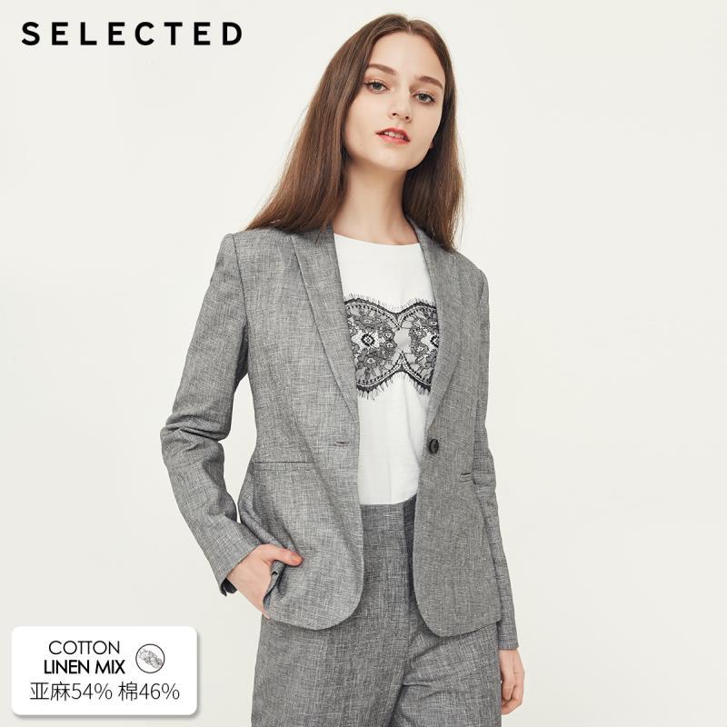 SELECTED Women s Cotton Linen Blazer S 418372501