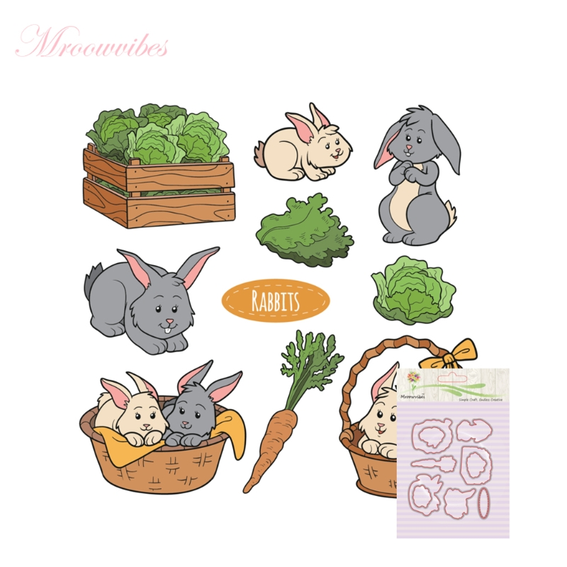 Clear Stamps Scrapbooking Accessories Rabbit Combination Stamp+Metal Cutting Dies Stencil Frame Scrapbook Album Decor pig silicone clear stamp metal cutting dies stencil frame scrapbook album decor clear stamps scrapbooking accessories