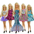 5 Pcs / lot  New Doll Accessories lifestyle Suit Slim evening Dress Clothes For Barbie doll Festival Gift For Girl