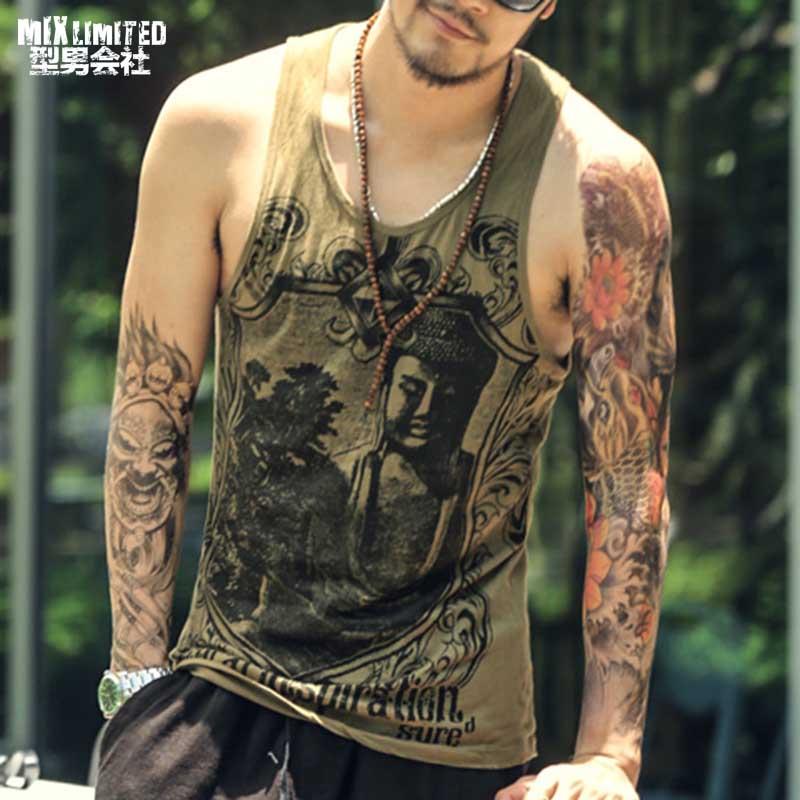 Hommes Singulet Débardeurs Bodybuilding Maillot Imprimé d'été Or réservoir mince Remise En Forme sous-vêtements creux casual hommes gilet Vêtements