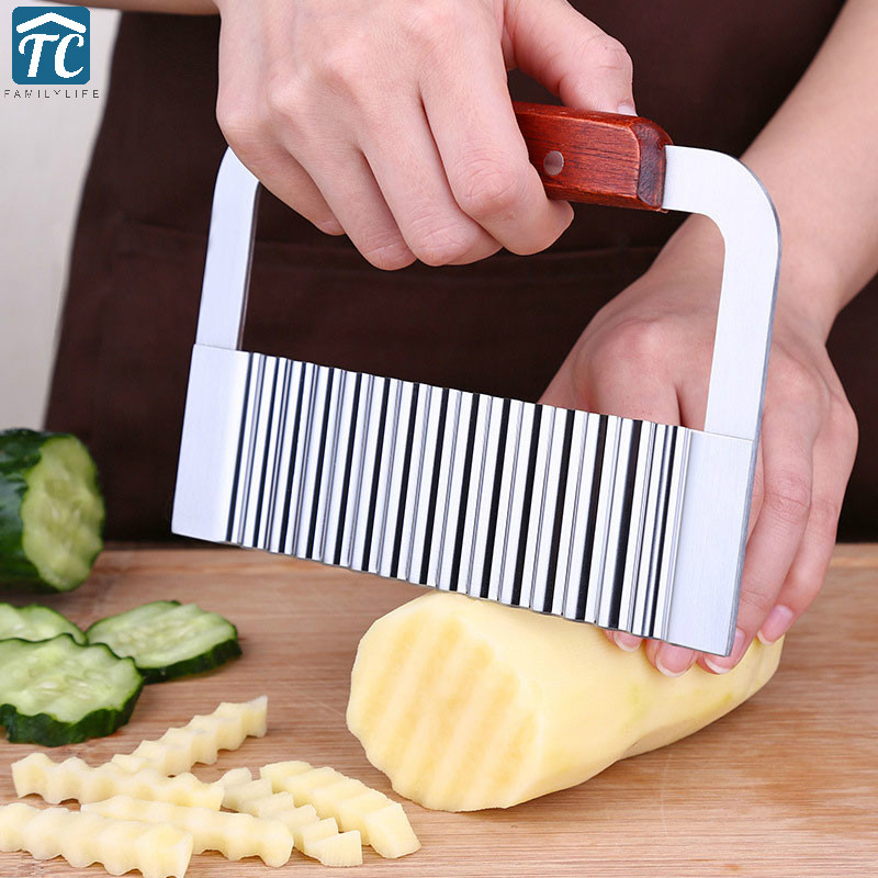 1PC Potato Cutter Wavy Edged Knife Stainless Steel Vegetable Fruit Cutting Peeler Cooking Tools Kitchen Gadget Eco-friendly