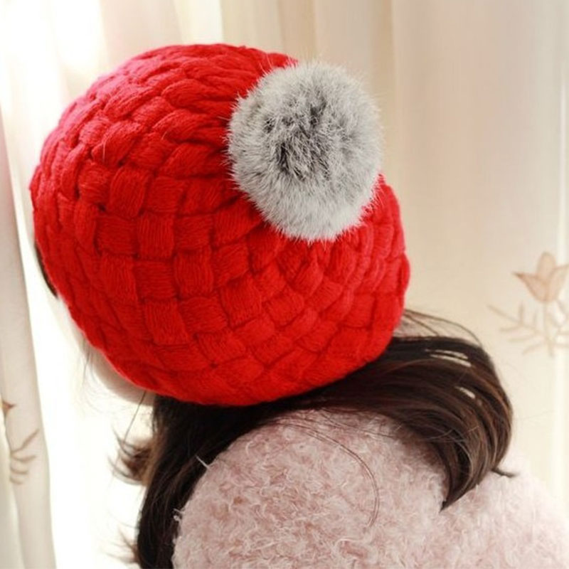 1-6years Old Real Rabbit Fur Knitted Baby Caps Cute Baby Photography Props Soft Plaited Baby Hat Girl Crochet Beanie Toddler Cap