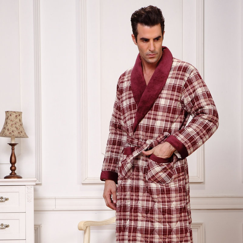 Thickening male cotton-padded thermal robe male cotton-padded bathrobes plus size plus s ...