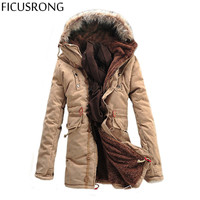FICUSRONG Winter Men S Jacket Coat Men S Outdoors New Fashion Casual Thick Warm Hooded Down