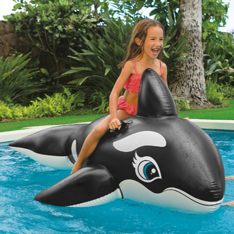Black Whale Summer Swimming Pool Lounge Float Inflatable Whale Giant Rideable Pool Water Toys Outdoor Fun Sport Toys 193*119cm vilead new american stripe water hammock pvc sleep tents pool row pattern lounge inflatable air floating bed for beach swimming