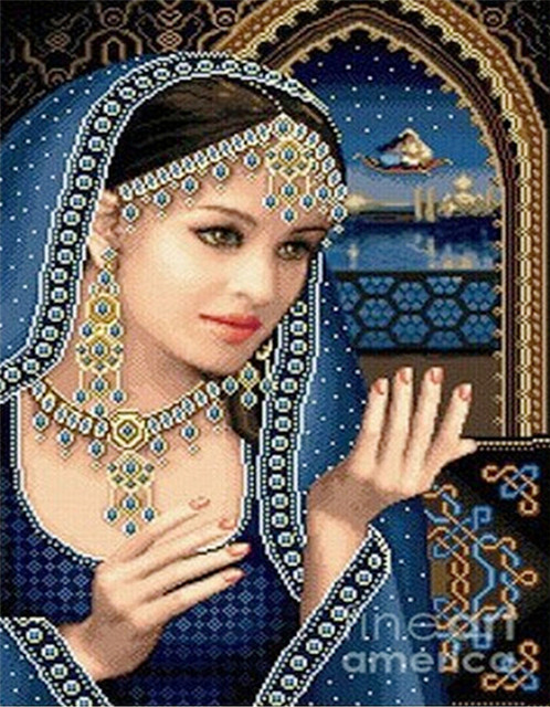 df14d57f19 DIY 5D Diamond Painting Beautiful Indian Lady Diamond Mosaic Icon Full  Drill Rhinestones Embroidery Beadwork Yarn