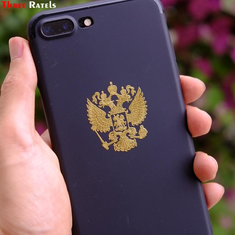 Three Ratels MT-001XS 4*3.4см Герб России двуглавый орел Крутые никель металлические наклейки на телефон стикеры наклейка самое хорошее качество