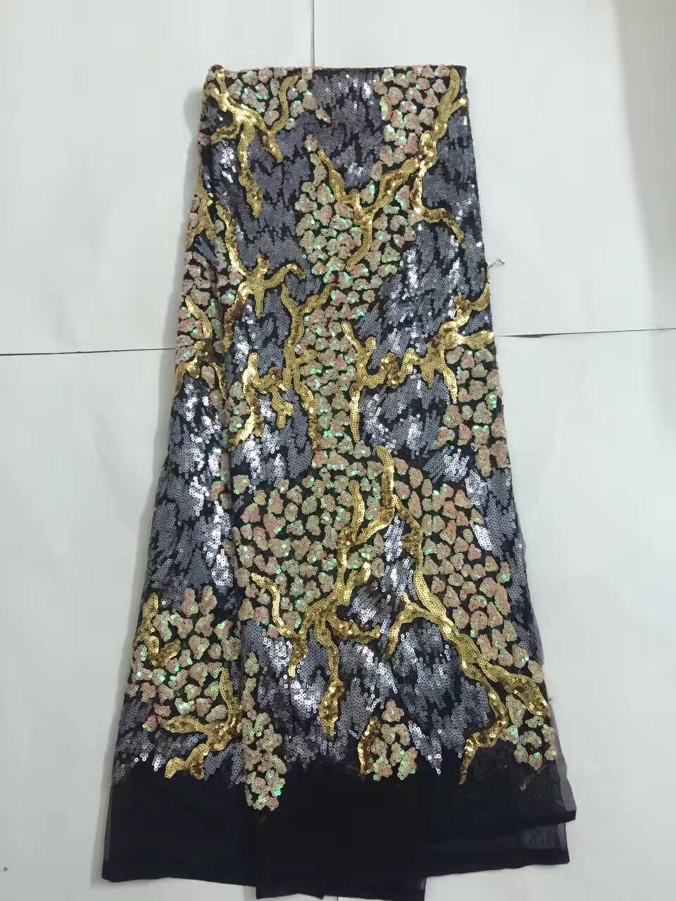 sequins african lace fabric Wholesale LJY 102711 high quality african tulle lace fabric with sequins
